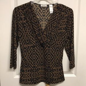 Liz & Co. Black & Brown Blouse